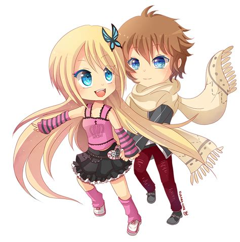 anime couple cute chibi chibi couple commission for darkehlicious 01 by