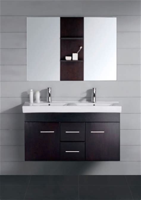 small modern double sink bathroom vanity  mirror