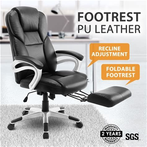 cing chair with footrest australia new executive office computer chair pu armchair footrest