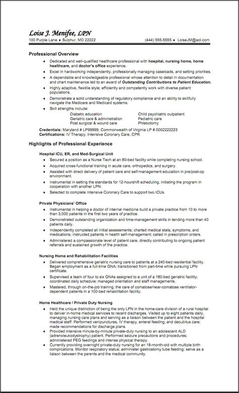 Lpn Resume Template by Free Resume Templates For Lpn Nurses