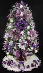mini tabletop tree purple and silver 17 inches