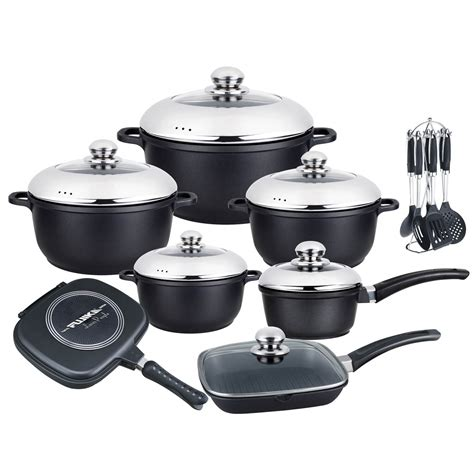 pcs black classic series cast aluminum healthy nonstick cookware set  combined lids pcs