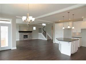 Basement ideas - Love this! Dark floors, gray walls, white