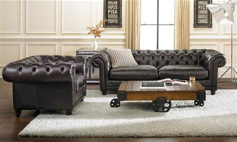 Chesterfield Sofa In Living Room by 93 Inch Top Grain Tufted Chesterfield Sofa Haynes