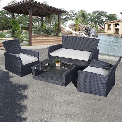 how to buy wicker garden furniture on a budget out out goplus 4pcs outdoor patio furniture set wicker garden lawn