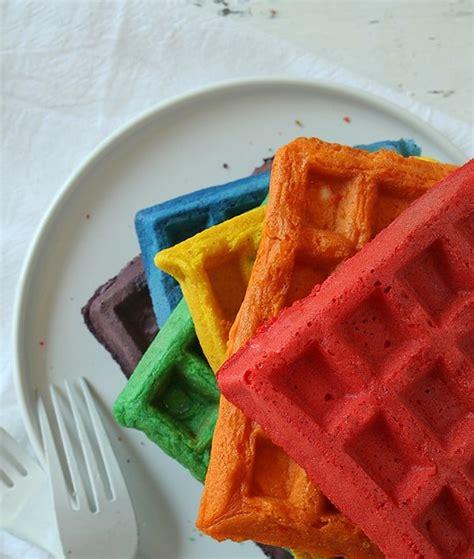 blue colored waffle rainbow waffles i am baker