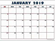 January 2019 Calendar Fillable Editable Template