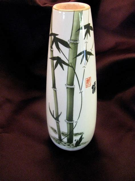 Bamboo Vase by Vintage Asian Painted Bamboo Stalk Pottery 10 Quot Vase