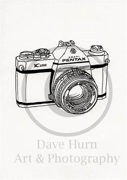 Camera Drawn Slr Hand Drawing Line Pentax