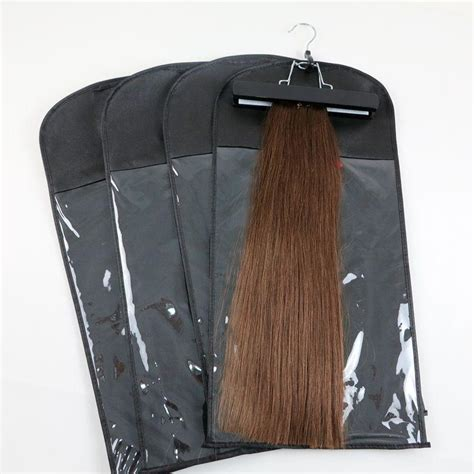 2019 hair extensions packing bag dustproof package bag with hanger for clip hair human hair weft