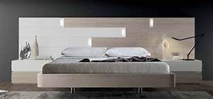 Lit Design Bois : chambre lit rectangle ambiance bois lumiere lit adulte design avec chevets personnalisable ~ Teatrodelosmanantiales.com Idées de Décoration