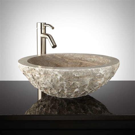 travertine sink round chiseled travertine vessel sink silver travertine ebay