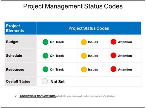 project management status codes powerpoint