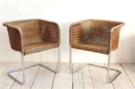 harvey probber wicker and chrome dining chairs at 1stdibs
