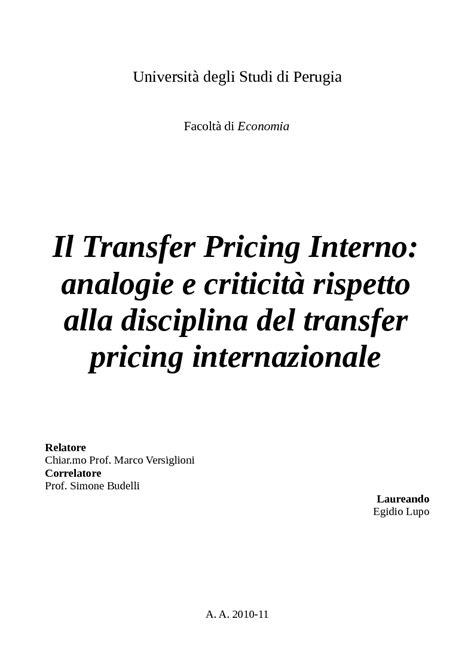 Transfer Pricing Interno Universit 224 Degli Studi Di Perugia Facolt 224 Di Economia Il