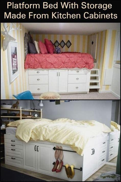 platform bed  storage    kitchen