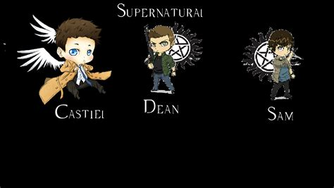 Supernatural Anime Wallpaper - castiel dean sam chibi supernatural background by