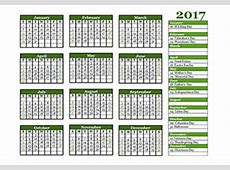 2017 12Month Calendar Template One Page Free Printable