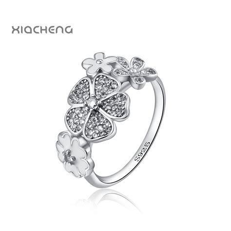 flowers wedding ring european 925 sterling silver fit