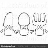 Silverware Coloring Pages Template sketch template