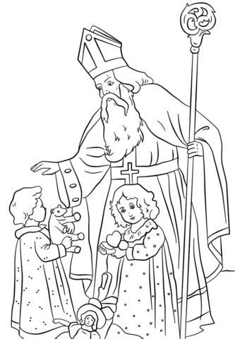 st nicholas greets children coloring page