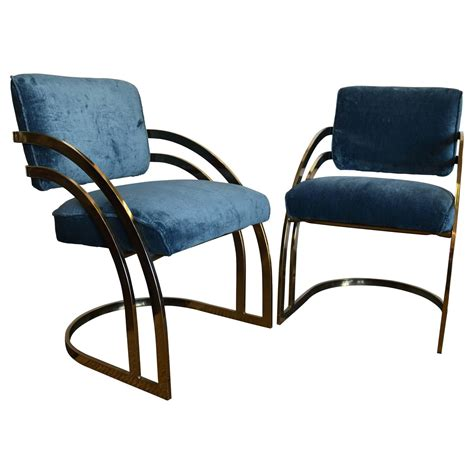 pair milo baughman brass chairs at 1stdibs