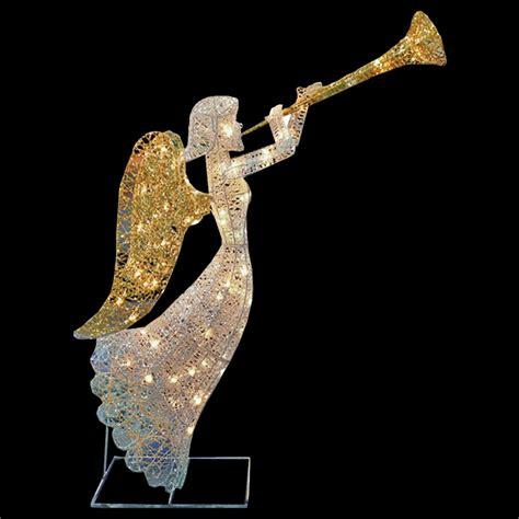 led lighted glittering mesh trumpeting angel
