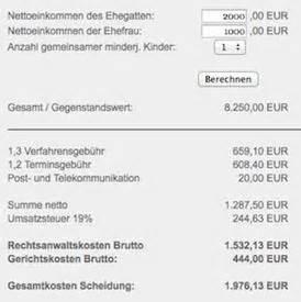 Scheidung Kosten Berechnen : newsletter der weg 05 11 2 november 2005 ~ Themetempest.com Abrechnung