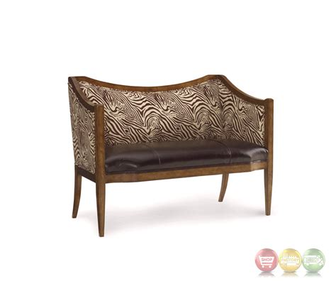 the foundry zebra print leather settee with distressed