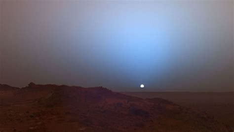 stunning blue tinted sunset captured  nasas