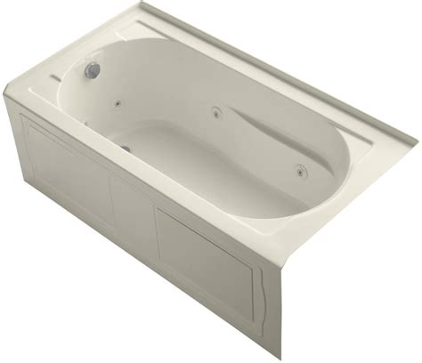 kohler k 1357 la 47 almond devonshire collection 60 quot three wall alcove jetted whirlpool bath tub