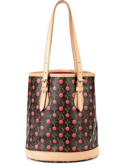 louis vuitton monogram cherry print shoulder bag  brown