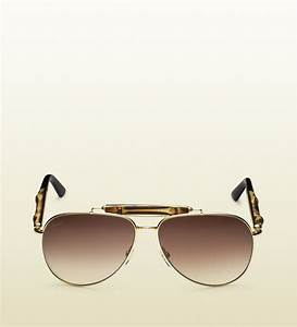 Lyst - Gucci Bamboo Aviator Sunglasses in Brown