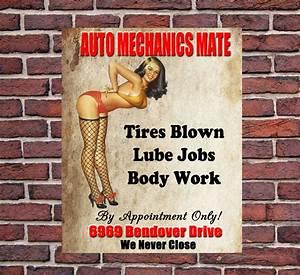Auto, Mechanics, Mate, Large, Metal, Vintage, Style, Tin, Sign, Garage, Workshop, Gift
