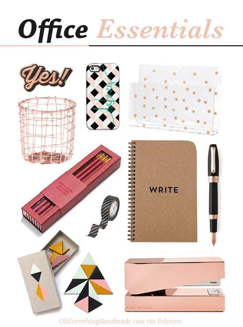 Office Supplies Essentials by Gold Office Essentials Free Brush Lettering Printable