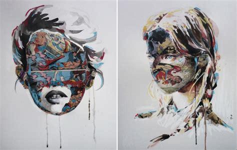 beautiful female portraits intermixed  comic book