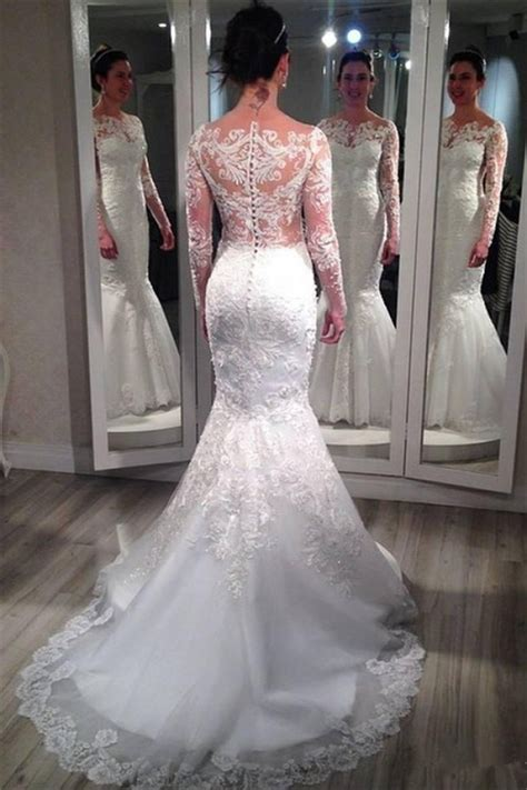 lace long sleeve wedding dresses  vintage mermaid