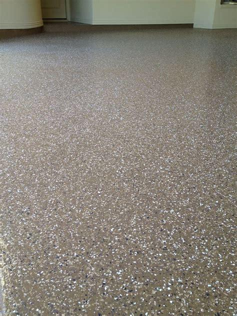 garage floor paint vapor barrier 1 4 quot desert flake blend medium broadcast on a mocha color epoxy vapor barrier finished with a