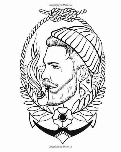 Tattoo Coloring Traditional Neo Adult Adults Portrait