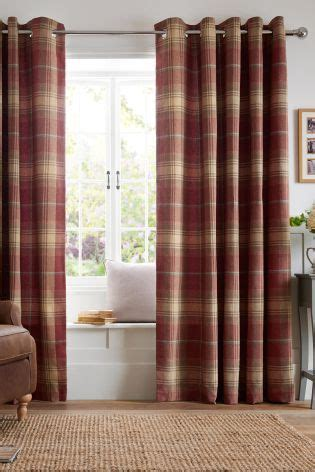 buy thermal red woven check stirling eyelet curtains