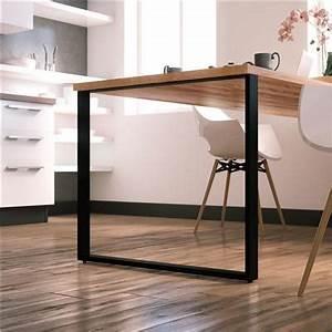 Table Cuisine Rectangulaire : pied de table forme rectangle en metal noir hauteur r glable 720 mm ~ Teatrodelosmanantiales.com Idées de Décoration