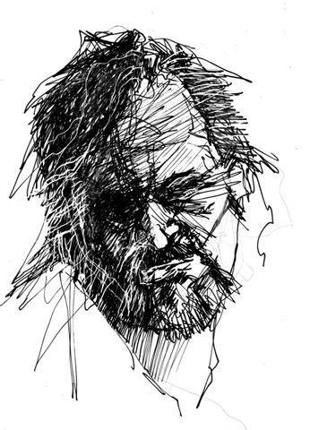 scribbled  drawings  doug bell beard art drawings