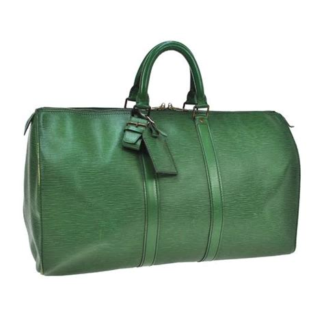 louis vuitton  green epi carry  travel hand duffle