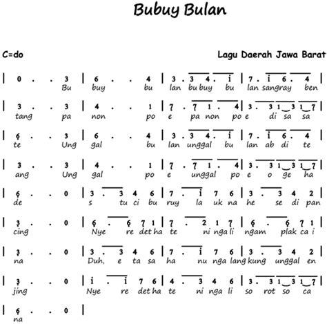not pianika lagu daerah nasi not angka lagu bubuy bulan lagu daerah pianika recorder keyboard suling