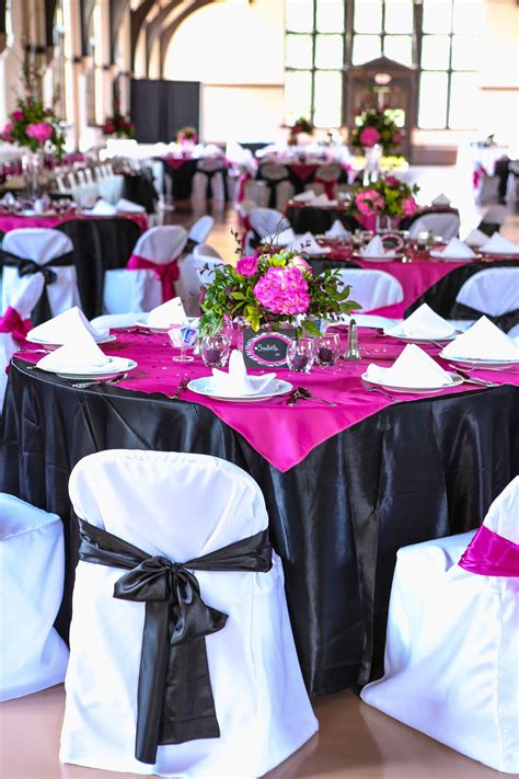 fuchsia wedding table decorations pink and black wedding tablescapes weddings in 2019