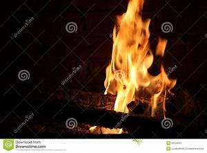 Burning Log In Hot Fire And Flames Stock Image - Image ...