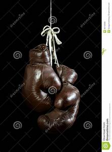 Old Boxing Gloves, Hanging, On Black Background Stock ...