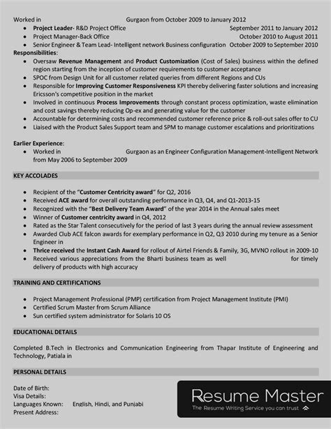 Telecom Project Manager Resume Sle by Telecom Project Manager Resume Master