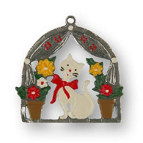 cat house christmas ornament pewter ornaments
