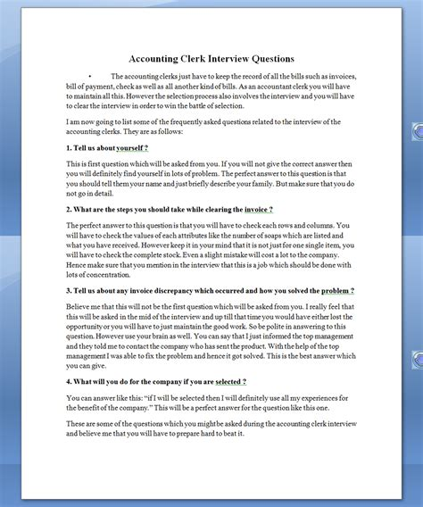 Accounting Clerk Questions by See Once Accounting Clerk Questions